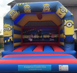 Minion bouncy castle with shower cover